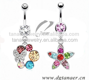 New 14g Navel Piercing Jewelry Summer Collection Cz Assorted Styles Belly Ring Navel Buy Belly Ring Navel Navel Piercing Jewelry Fancy Navel