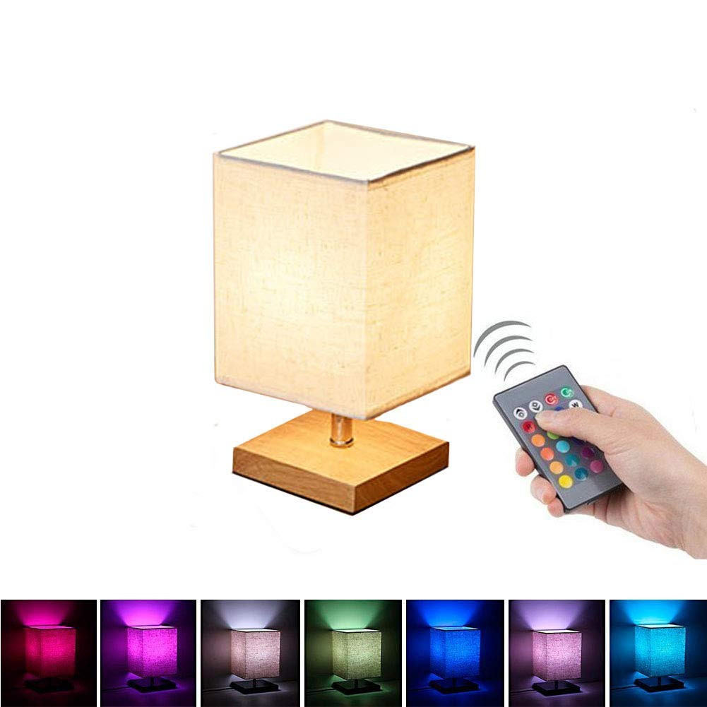 Autra Bedside Table Desk Lamp Color Changing RGB Dimmable Multicolored Smart LED Light,Fabric Paper Shade and Solid Wood, Remote Control Colorful,Nightstand Lamp for Bedroom/Living Room/End Table