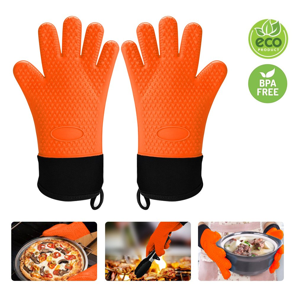 Silicone Gloves Meifox - Heat Resistant - Non-Slip Potholders-Waterproof-Extra long cuff - Cotton Lining - Full Finger Hand Wrist Protect - Oven mitts for BBQ,Baking,Grilling,Cooking,Kitchen,Screw cap