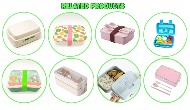 Hot Eco friendly custom Leakproof Food biologisch abbaubare BPA-freie lunchbox kinder schule bambusfaser tiffin bento kids lunchbox
