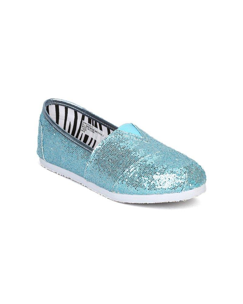Little Angel Venus-651 Glitter Slip On Designer Flats (Toddler/Little Girl/Big Girl) - Turquoise Glitter