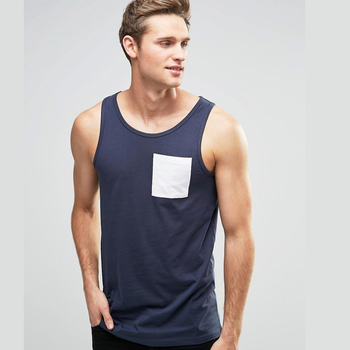 OEM Wholesale Plain Tank Tops With Pocket For Men