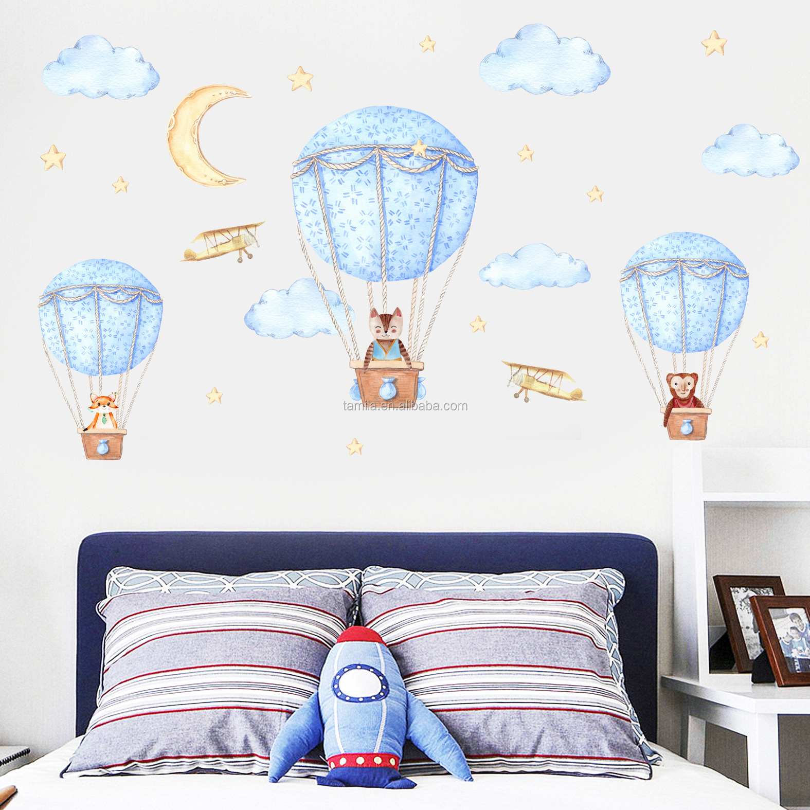 Boys And Girls Baby Room Cartoon Hot Air Balloons Clouds Wall Stickers