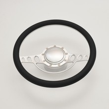 China 15.5'' Satin Leather Steering Wheel with Horn Button Adapter