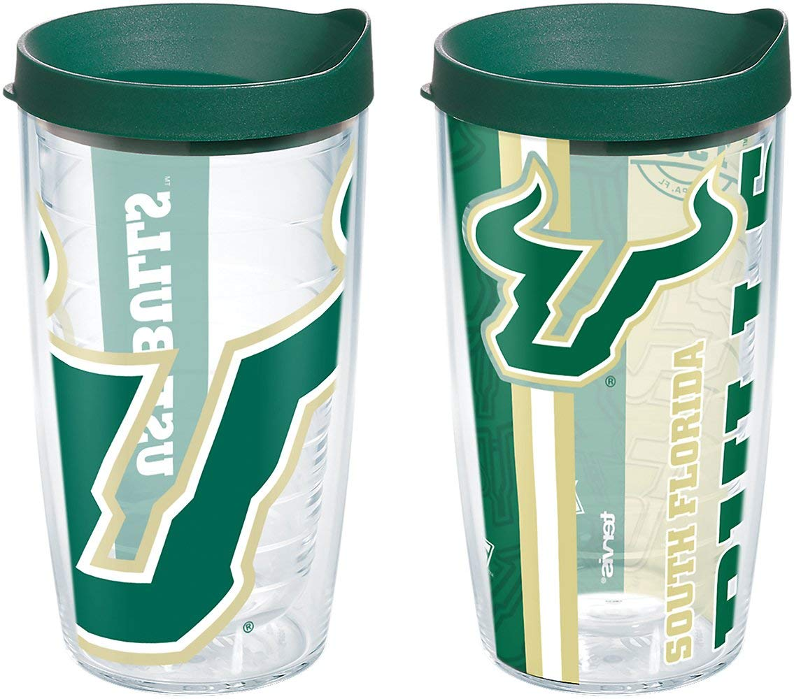 Tervis 1240824 Usf Bulls College Pride and Colossal Insulated Tumbler with Wrap and Hunter Green Lid 2 Pack-Boxed, 16oz, Clear