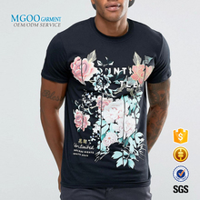 MGOO Garment Factory Price Cotton Polyester Mens T-shirts Fashion Casual Floral Print Front Silk Screen Printing