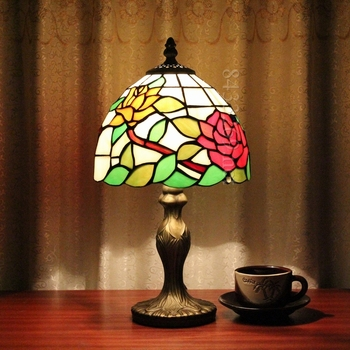 "8"" handmade tiffany style table lamp for home decoration"