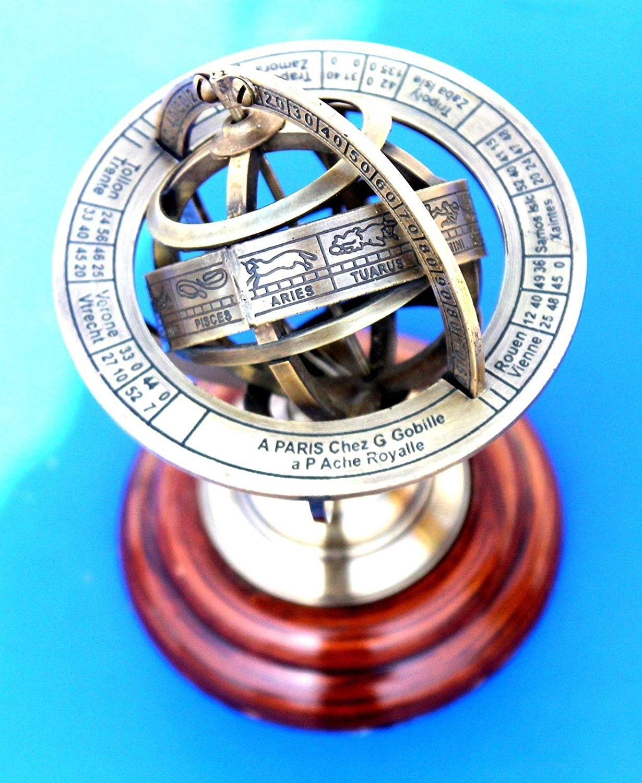 "Shaheera Nautical 6"" Marine Brass Armillary Sphere Vintage Nautical Astrolabe Globe Nautical Gift"