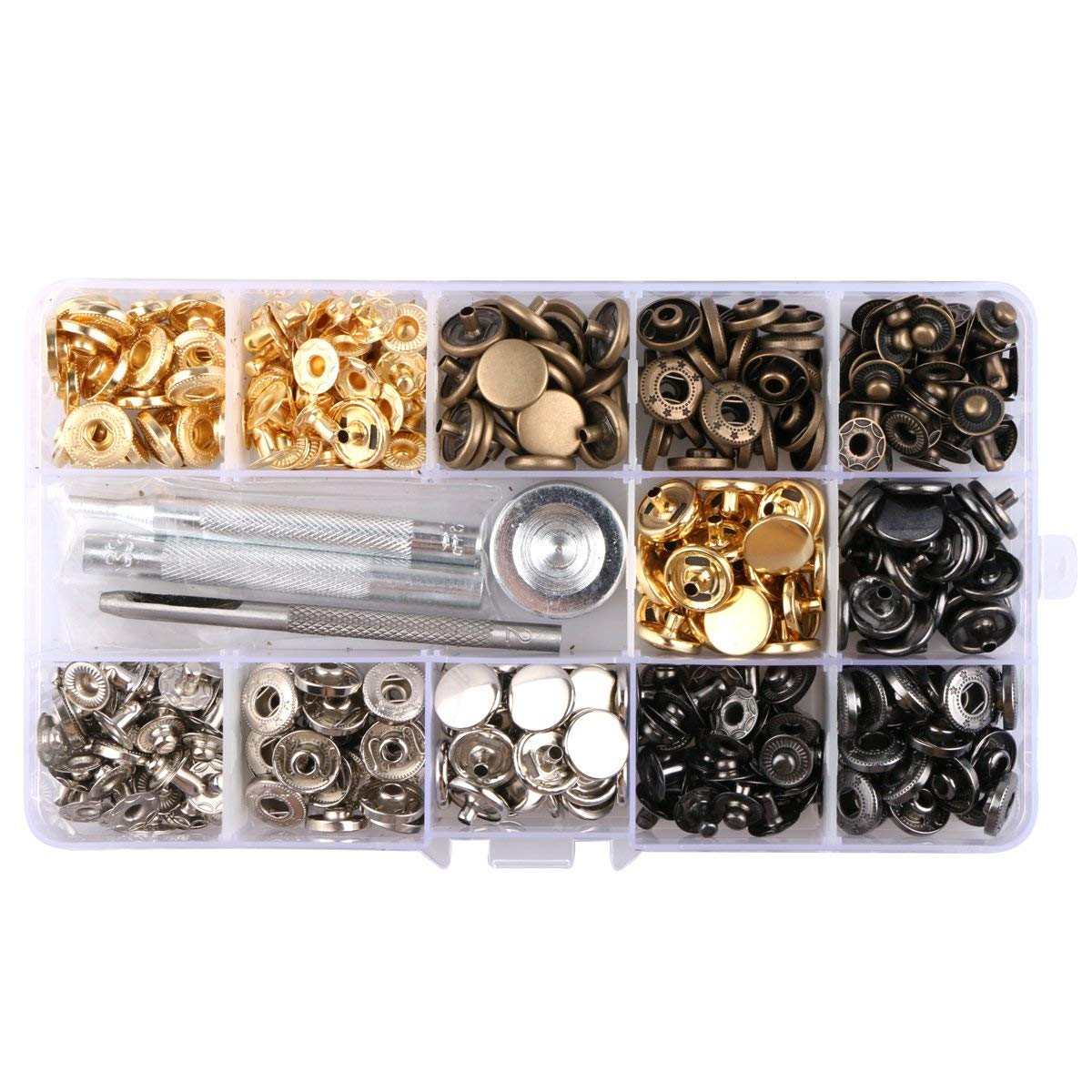 Mikimiqi 100 Sets Copper Snap Fastener Kit Button Tools Press Studs Fastener Snap Leather Rivets with Fixing Tool for Fabric, Leather Craft (12 mm) (100 Set Copper Snap)