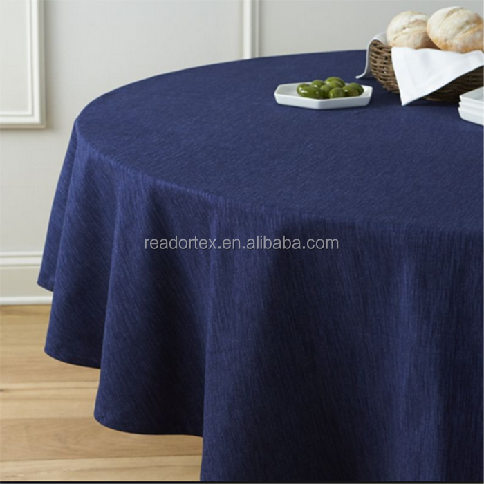 132'' 120'' 90'' Navy Blue Linen Fabric Table Cloth
