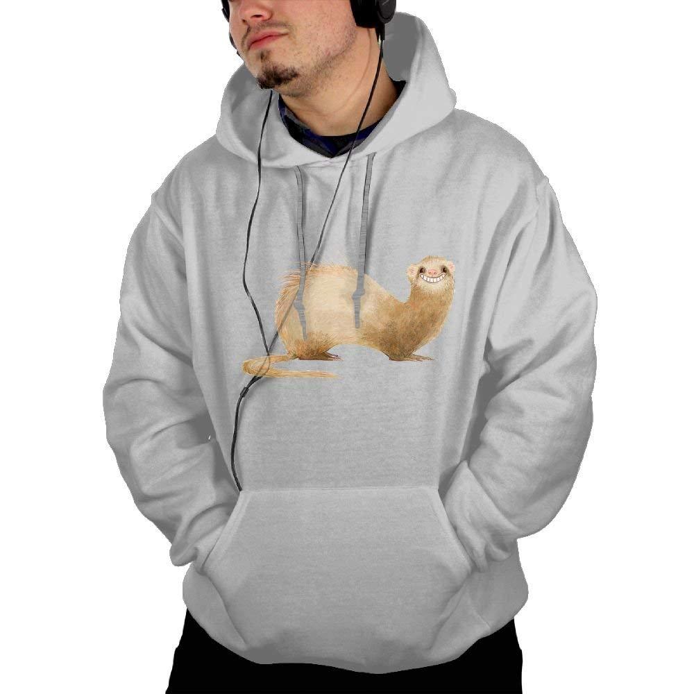 Mens Funny Music Loving Ferret Cozy Long Sleeve Sports Hoodies For Gym Jogging Hiking Sweatshirt With Kangaroo Pocket Hooded Coat