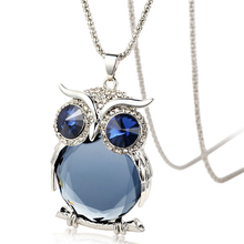 Factory Directly Supply Long Sweater Chain Inlay Crystal Owl Pendant Necklace Jewelry