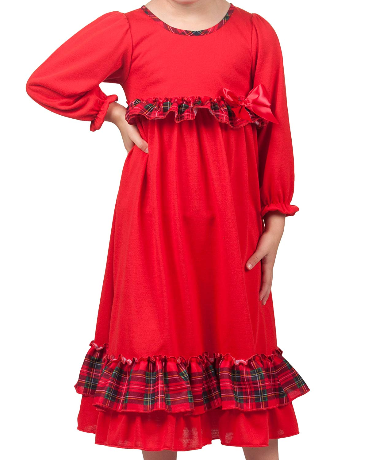 6a93c909c5 Get Quotations · Laura Dare Baby Toddler Holiday Red Long Sleeve Gown with  Red Green Plaid Trim