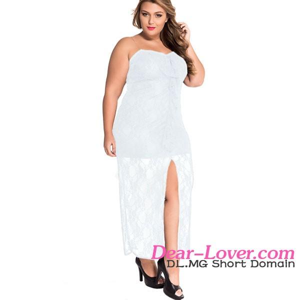b12b0b68e7a Plus Size White Ruffle Strapless Fat Women Lace Dress Patterns - Buy ...