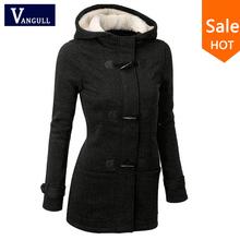 Autumn Hooded Horn Button Coat Women Winter Parkas Sport Grey Outwear 2015 New Fashion Long Women Overcoat S-XL