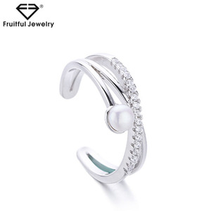 Korea Temperament Simple Birthday Gift S925 Silver Freshwater Pearl Ring Jewelry For Girlfriend