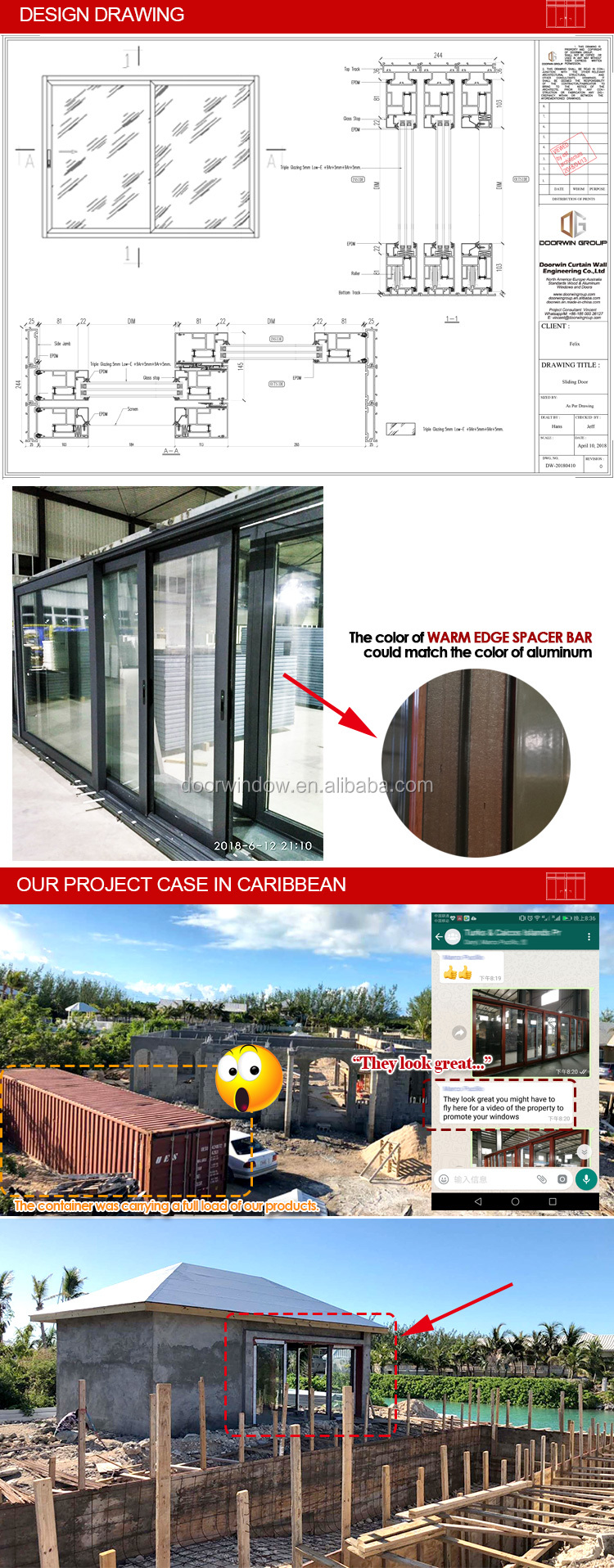 Aluminum Sliding doors for kitchen door sale rooms
