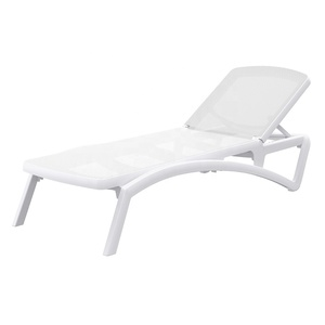 Outdoor mesh white plastic sun lounger pool sun bed day bed beach bed