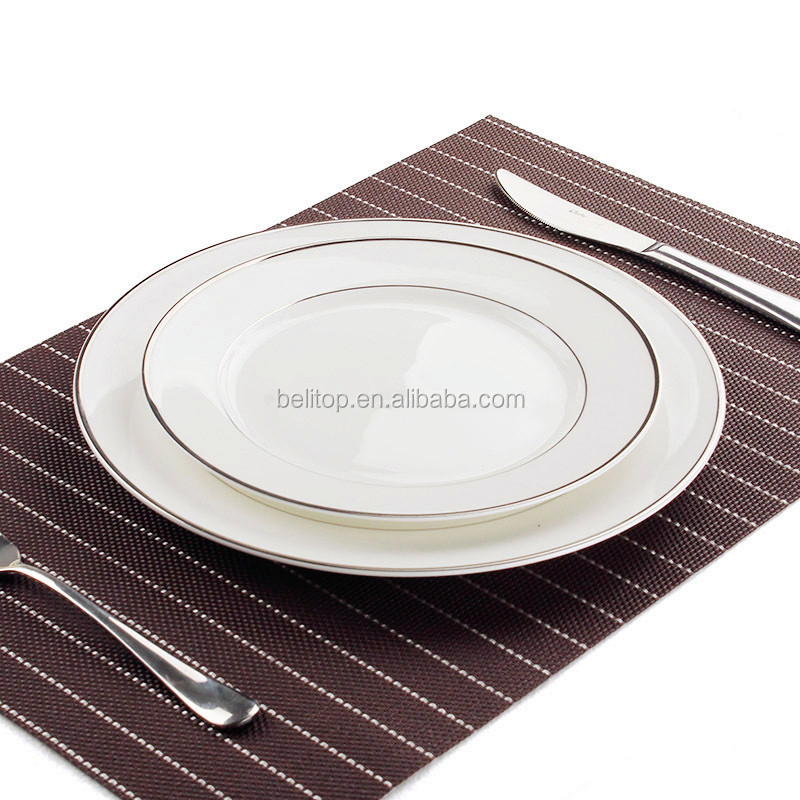 China Tableware Silver Edge Flat <strong>Plate</strong> of Beefsteak Hotel Household Utensils Fruit Bowl Dumpling Dishes Hotel Ceramic <strong>Plate</strong>