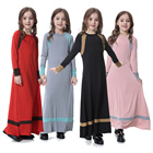 Muslim Islamic Girls Soft O-Neck Full Length Long Maxi Runway Abaya Dress