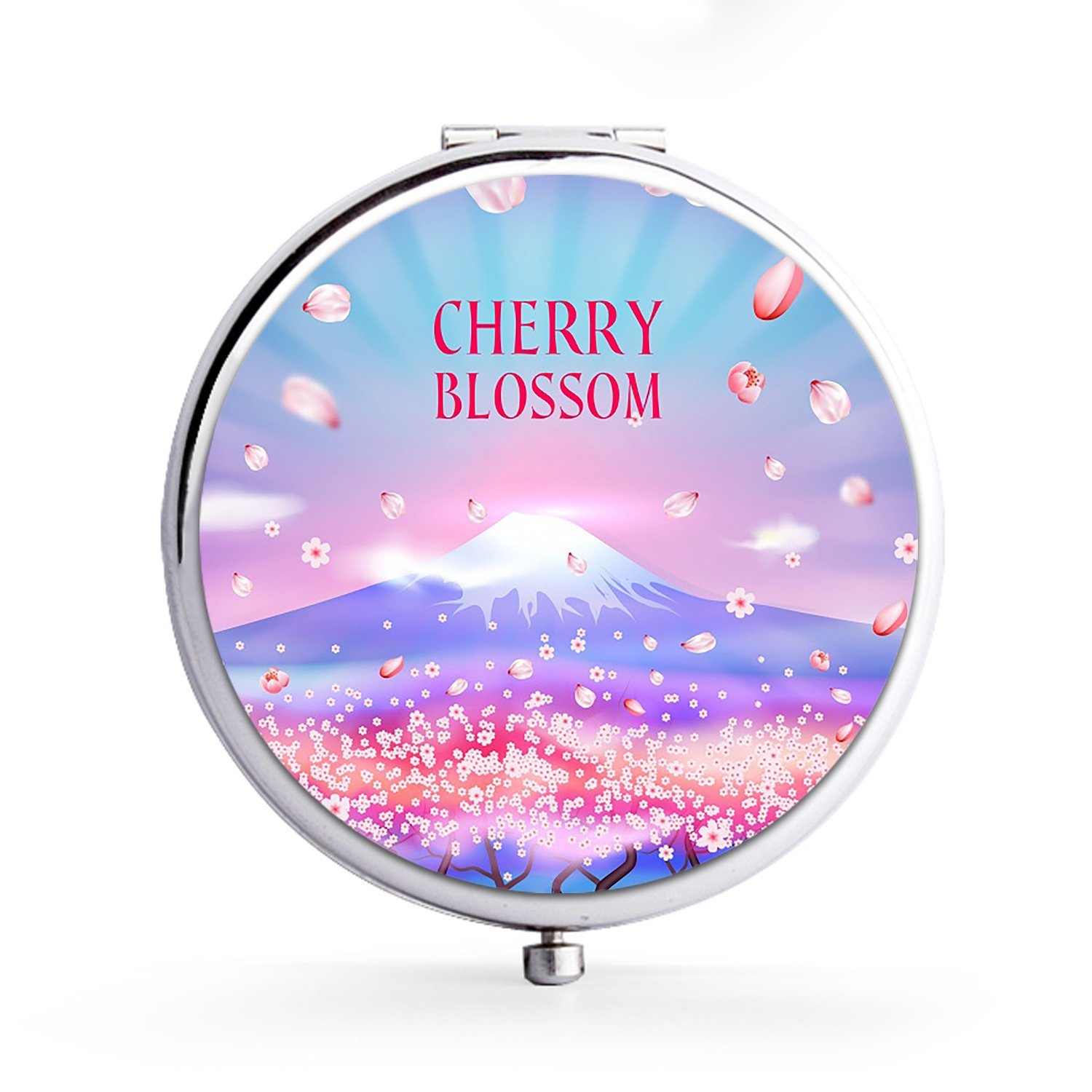 XIANN Mirror Makeup Mini Mirror Handhold Double Side Compact Travel Mirrors - Cherry Blossom Watercolor
