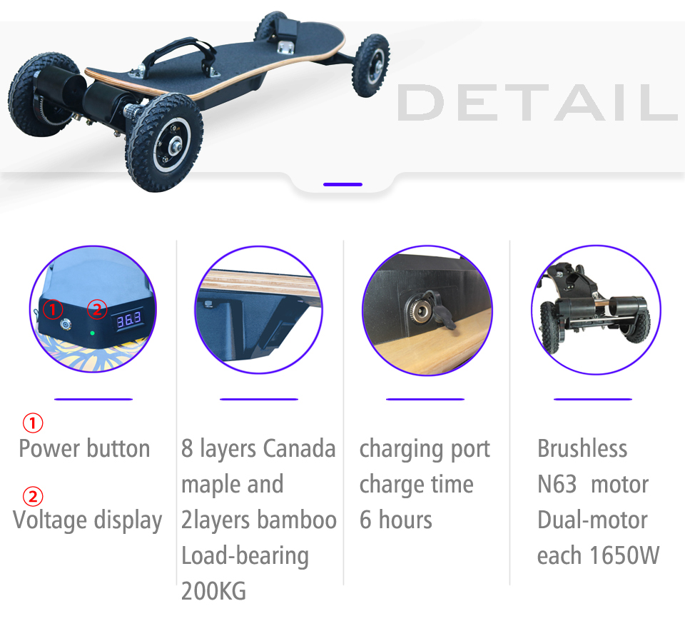 New Design Big Wheel Fastest Off Road Electric Skateboard With Dual Motor