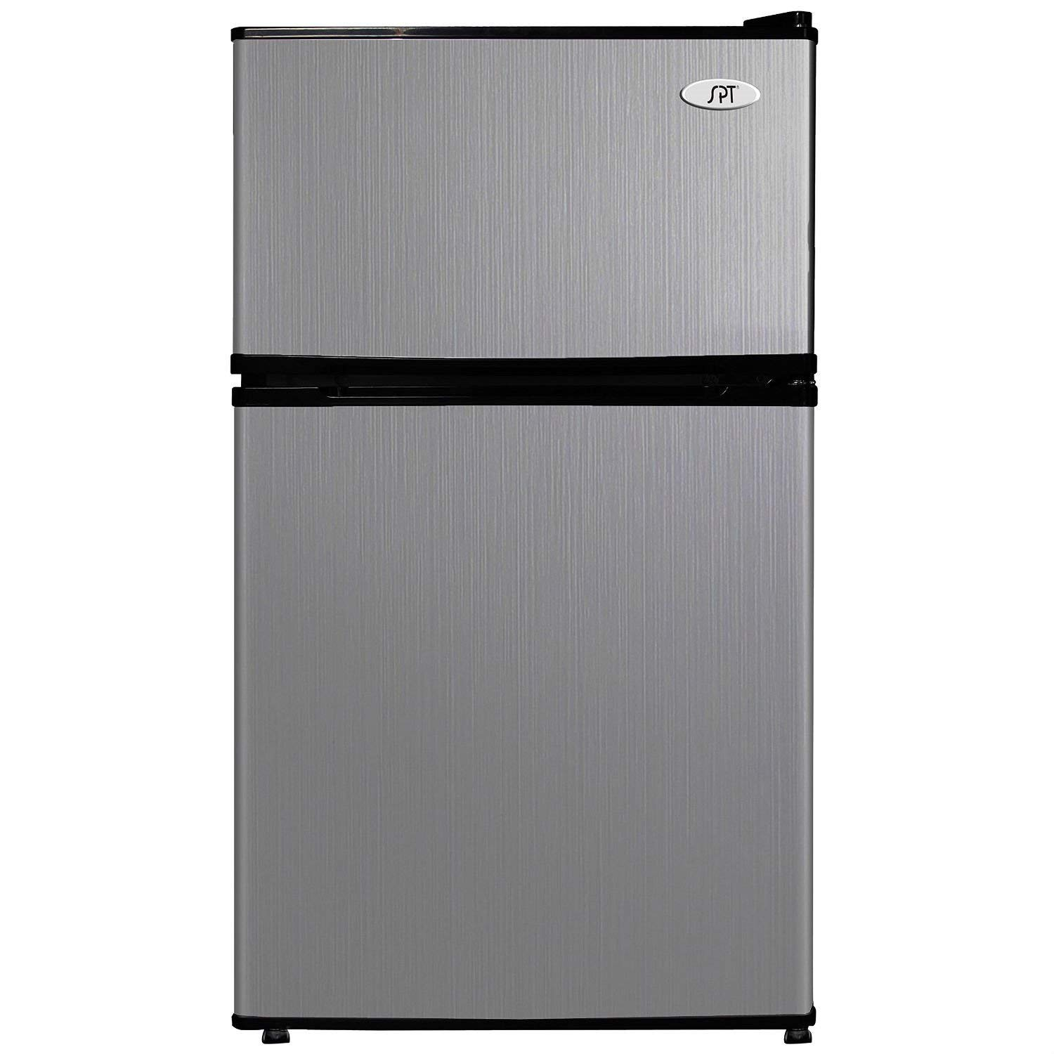 Trustpurchase 3.1 Cubic Foot Double Door Stainless Steel Refrigerator with Freezer, has Double Door: Separate Fridge and Freezer Compartments, Plus Slide-Out Wire Shelf for Storage Versatility