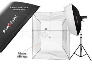 """Fotodiox Pro 32x48"""" Softbox PLUS Grid (Eggcrate) for Studio Strobe/Flash with Soft Diffuser and Dedicated Speedring, fits THE NEW PAUL C. BUFF EINSTEIN E640 Strobe Flash Light"""