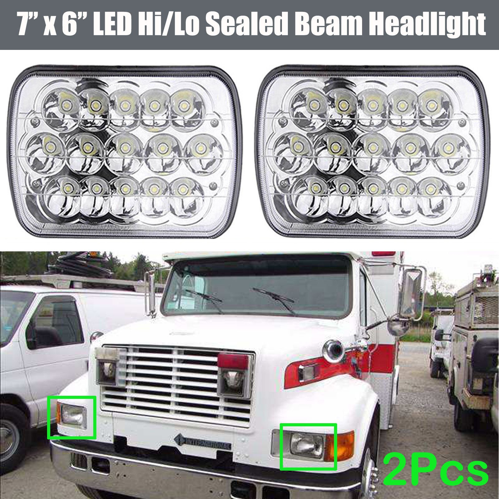 Pair H6014 / H6052 7'x6 5x7 LED Headlights for International Harvester 9200 9400 9900 4700 4800 4900 8100 3800 8200, Sealed Beam Super Bright Rectangular Head Lights Bulb Replacement