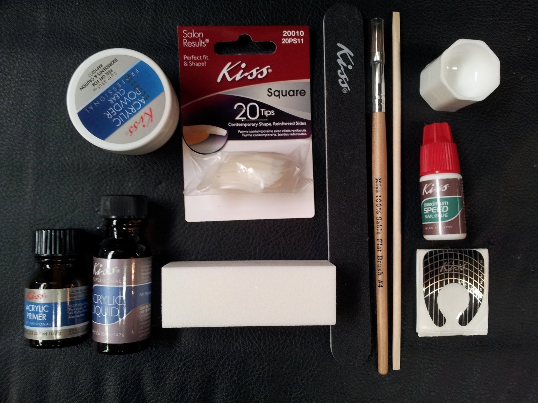 Complete Acrylic Sculpture Kit-Starter Nail kit with Maximum Speed Nail Glue / Acrylic primer/Acrylic Liquid/Acrylic Powder/20 Natural Nail Tips/20 Nail Forms/Brush/Nail File and White Buff Block by Kiss