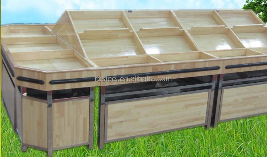 Supermercato mensola di legno per frutta e vegetebles for Arredamento ortofrutta in legno