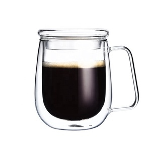 250 /350 /450 ML ODM/OEM High Borosilicate Double Wall Glass Mug Cup Double Wall Glass Tumbler With Lid