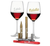 Wine Glass Marker Metallic Pen Set Round Tip DIY Writing chalk marker on Glass, Mirror, Window, Bottle, Jar, Ceramics
