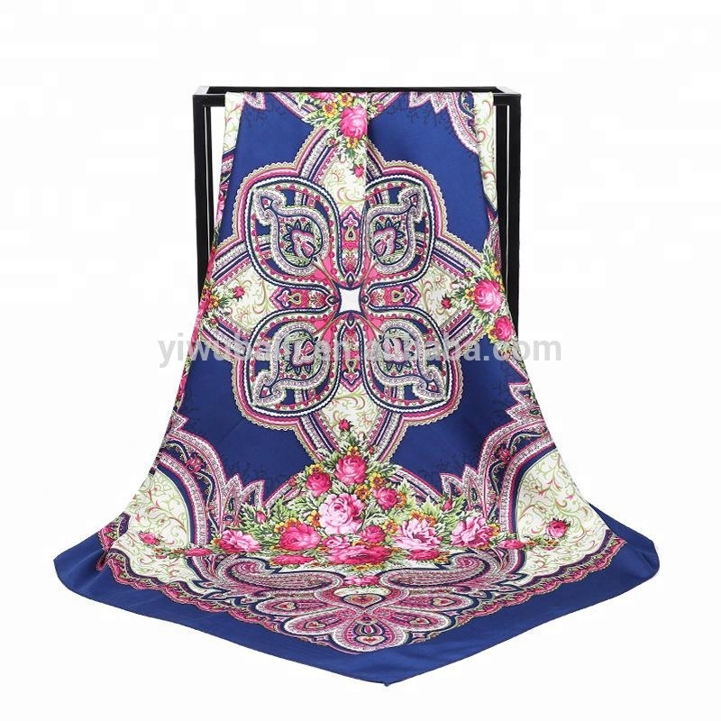 Wholesale High Quality Digital Printing Twill Silk Women's Scarf Large Square 100*100 CM