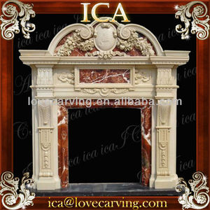 pink marble fireplace mantel,fire red marble fireplace,pink fireplace insert LH0053