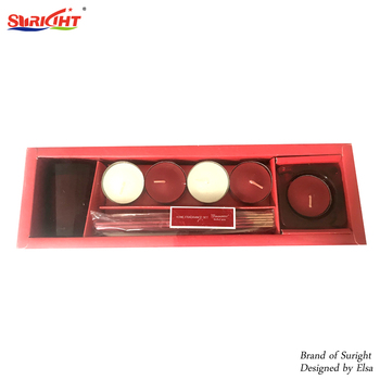 Gift Box With Incense And Tea Candle Holder Glass Set