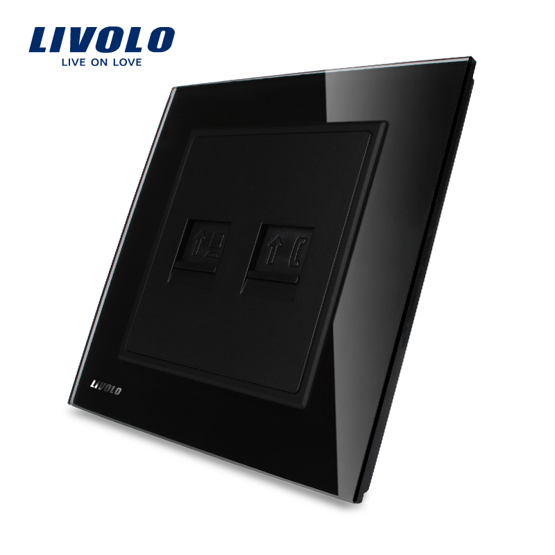 Livolo Black Crystal Glass panel Wall Telephone RJ11 Computer RJ45 Wall Socket Outlet VL-W292TC-<strong>11</strong>(TEL,COM)