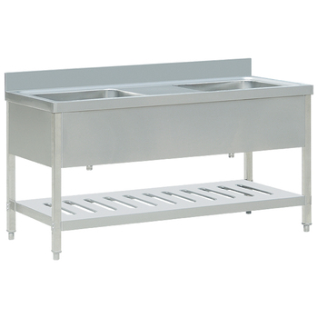 Commercial double bowl sink bench with under shelf of kitchen ...