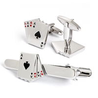 Brass cufflinks and tie clip sets enamel joint cufflinks and tie clip set