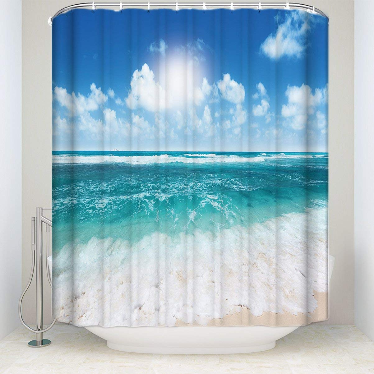 72x72 Bathroom Waterproof Shower Curtain 12 Hooks Starfish
