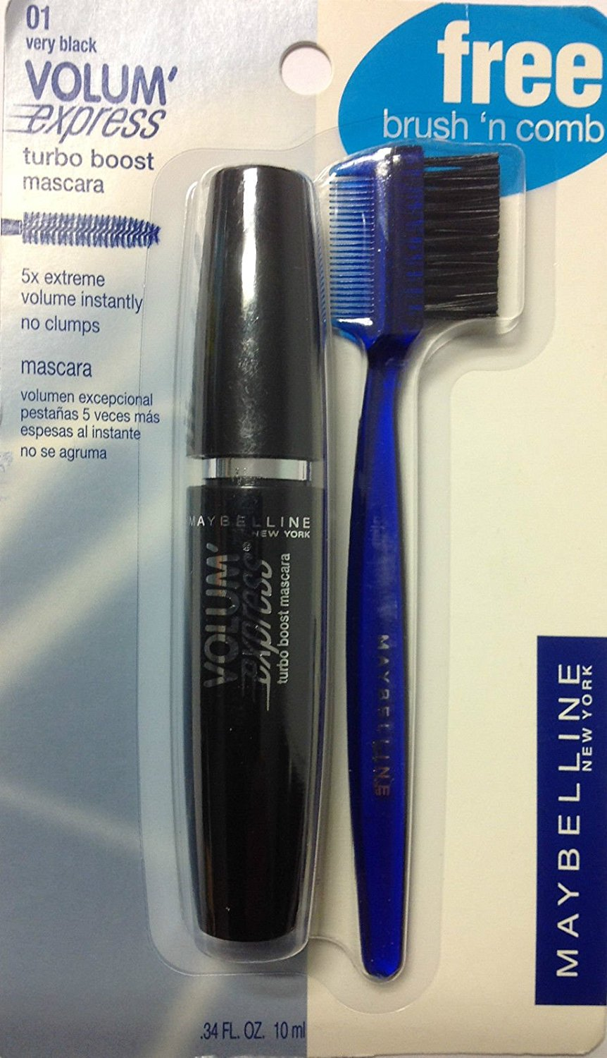 d7a8c6a3316 Maybelline Volume Express Turbo Boost Washable Mascara Very Black with  Bonus Brush'n Comb.