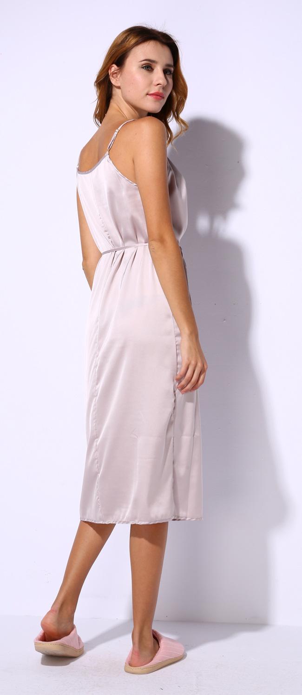 38daca9de405 2019 Wholesale Long Satin Nightgown Comfy Deep V Nightie Sexy A Line ...
