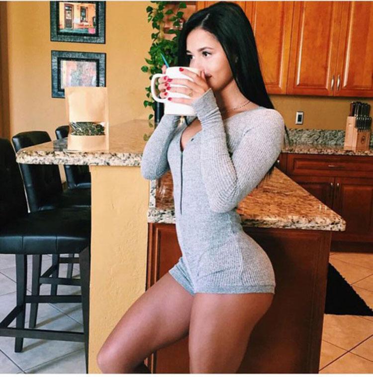 247e27093144 2019 Wholesale 2016 Autumn Rompers Women Jumpsuit Sweater Solid ...