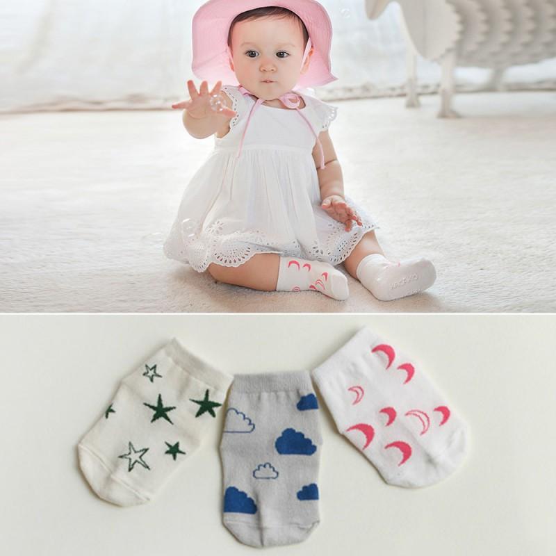 Summer Children Socks Baby Cotton Socks Cartoon Infant Moon Stars Print Socks 0 4Y