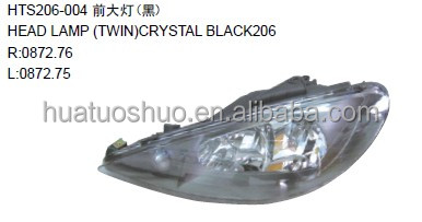 car head lamp black head lamp for peugeot 206