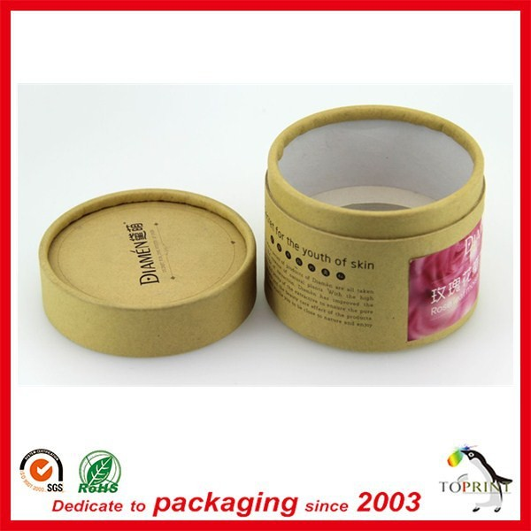 recyclable round shape brown kraft paper tube cosmetic packaging tube cylinder cardboard tube best quality