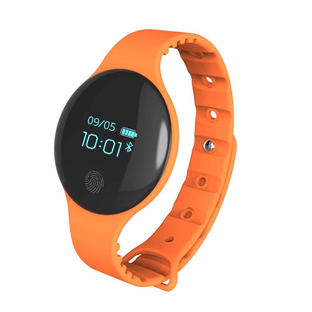 Smart Watch Fitness Tracker, Smart Bracelet Waterproof Blood Pressure Heart Rate Monitor Wristband(Orange)