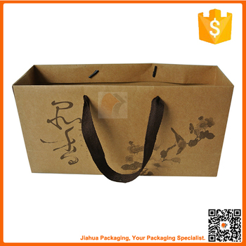 Flat Handle Brown Kraft Paper Bags Wholesale