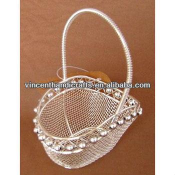 Oval shape bead handicraft wire mesh basket weave wedding decoration oval shape bead handicraft wire mesh basket weave wedding decoration basket junglespirit Choice Image