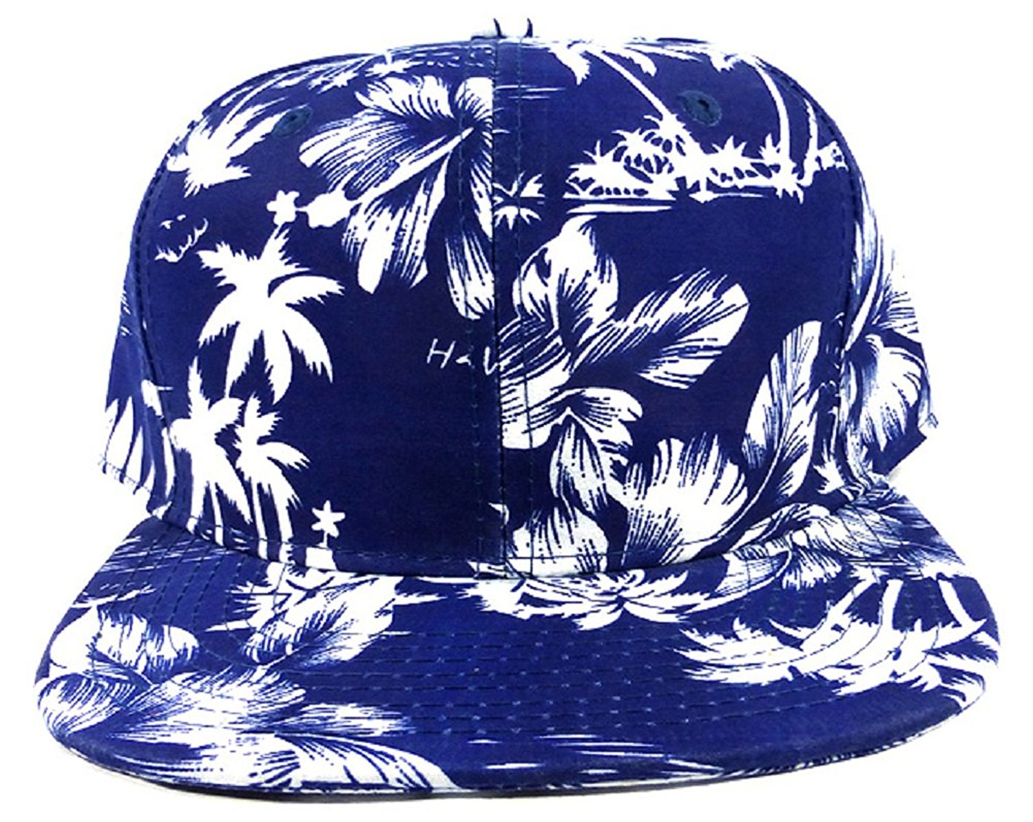 ab500b4d47e Get Quotations · Blue Silhouette Floral Hawaiian Print Snapback Hat Cap